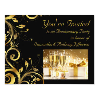 Black and Gold Swirl, Custom Anniversary Party Invitation
