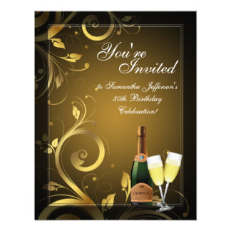 Black and Gold Swirl, Custom Birthday Party Personalized Invite