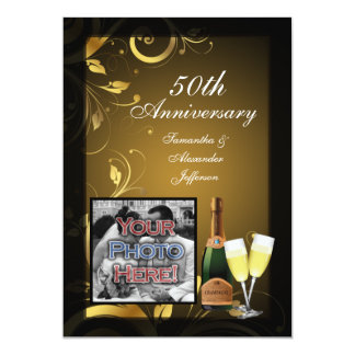 Black and Gold Swirl Photo 50th Anniversary Party Card