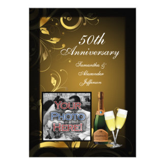 Black and Gold Swirl Photo 50th Anniversary Party Custom Invitations