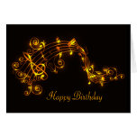 Black and Gold Swirling Musical Notes Birthday Greeting Card