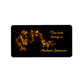 Black and Gold Swirling Musical Notes Bookplates Custom Address Labels