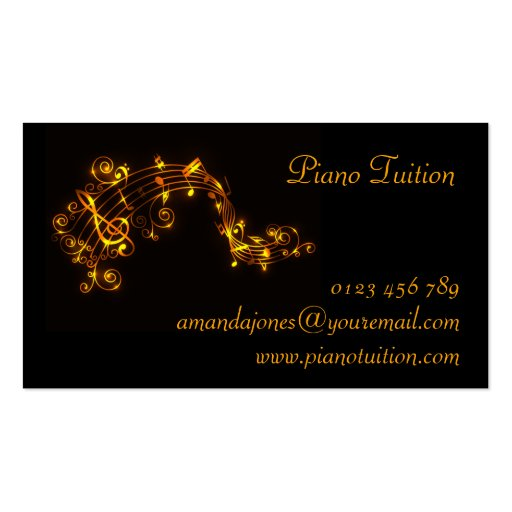 Black and Gold Swirling Musical Notes Business Car Business Card Template (back side)
