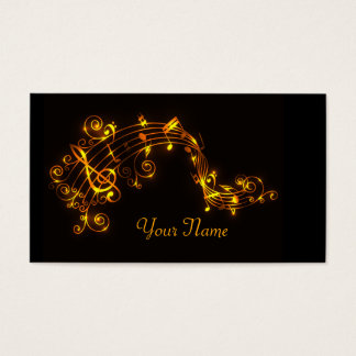 Black and Gold Swirling Musical Notes Business Card