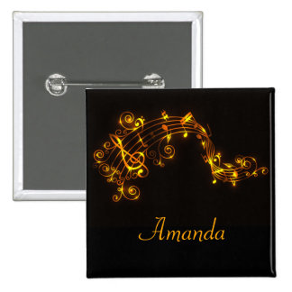 Black and Gold Swirling Musical Notes 2 Inch Square Button