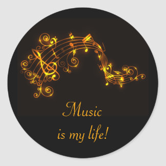Black and Gold Swirling Musical Notes Classic Round Sticker