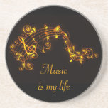 Black and Gold Swirling Musical Notes Coaster