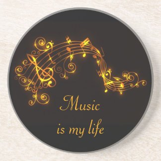 Black and Gold Swirling Musical Notes Drink Coaster
