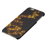 Black and Gold Swirling Musical Notes Glossy iPhone 6 Plus Case