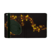 Black and Gold Swirling Musical Notes iPad Case