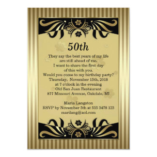 Black and gold swirls, flowers 50th Birthday Party 4.5x6.25 Paper Invitation Card