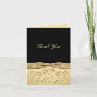 Black and Gold Thank You Card with Gold Ribbon card