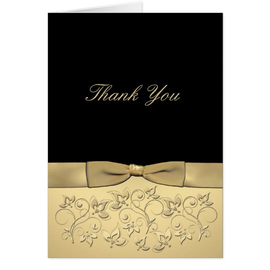 Black and Gold Thank You Card with Gold Ribbon