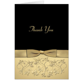 Black and Gold Thank You Card with Gold Ribbon Greeting Cards