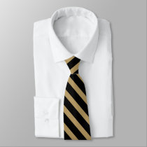 Black and Gold Thin University Stripe Tie