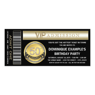 Black and Gold Ticket 50th Birthday Party 4x9.25 Paper Invitation Card