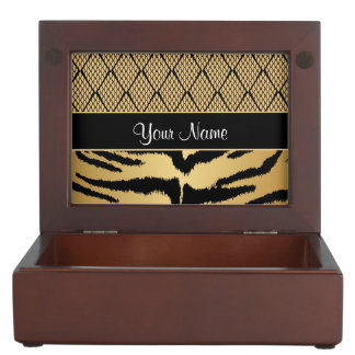 Black and Gold Tiger Animal Pattern Keepsake Box