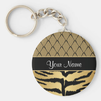 Black and Gold Tiger Animal Pattern Keychain