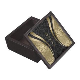 Black And Gold Tones Floral Damasks Keepsake Box