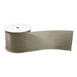 Black and Gold Trendy Christmas Stripes Blank Ribbon
