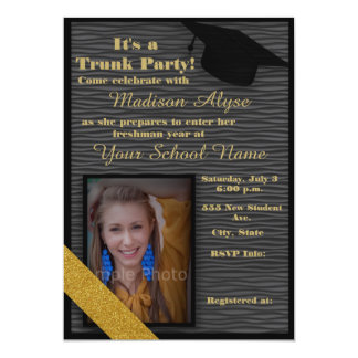 Black and Gold Trunk College Party Photo Card