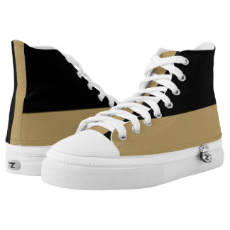 Black and Gold Two-Tone Hi-Top Printed Shoes