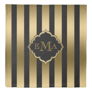 Black And Gold Vertical Stripes Duvet Cover at Zazzle
