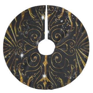 Black and Gold Victorian Sparkle Brushed Polyester Tree Skirt