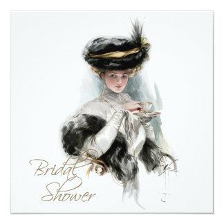 Black and Gold Vintage Bridal Tea Shower Card
