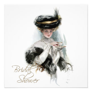 Black and Gold Vintage Bridal Tea Shower Custom Invite
