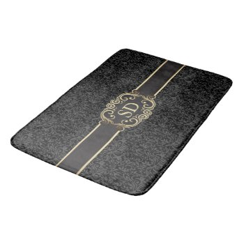 Black And Gold Vintage Damask Monogram Template… Bathroom Mat by RWdesigning at Zazzle