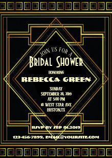 Great gatsby themed bridal shower invitations announcements zazzle black and gold vintage great gatsby bridal shower invitation filmwisefo