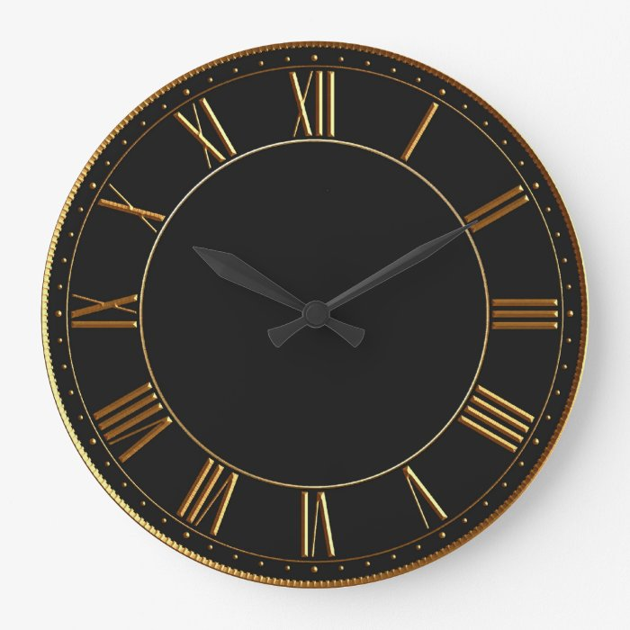 Black And Gold Vintage Roman Numeral Large Clock Zazzle