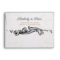 black and gold Vintage Wedding Envelope