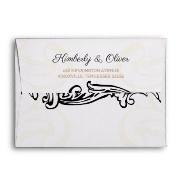 black and gold Vintage Wedding Envelope