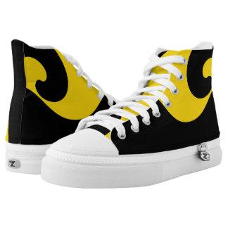 Black and Gold Wave Designer Hi-Top Printed Shoes