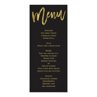 Black And Gold Wedding Menu Personalized Card