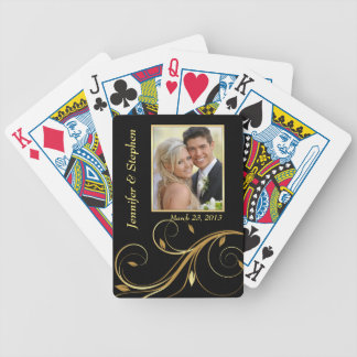 Black and Gold Wedding Photo Playing Cards