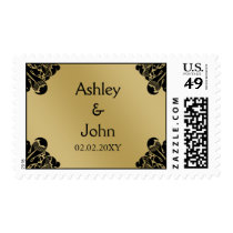 Black and Gold Wedding Postage
