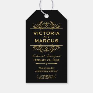 Black and Gold Wedding Wine Bottle Monogram Favor Gift Tags