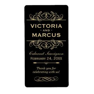 Black and Gold Wedding Wine Bottle Monogram Favor Label