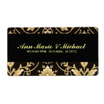 Black and Gold Wedding Wine Label