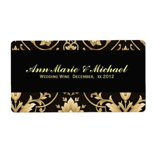 Black and Gold Wedding Wine Label