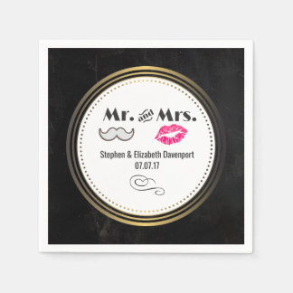 Black and Gold Wedding with Moustache and Lips Paper Napkin