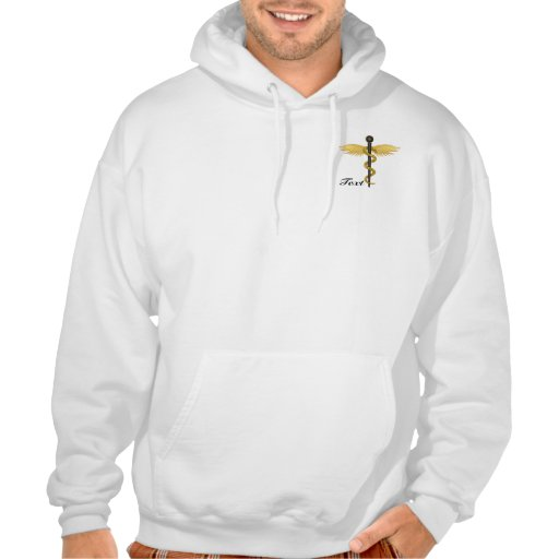 Black and Gold Winged Staff Hooded Pullover