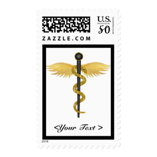 Black and Gold Winged Staff Postage