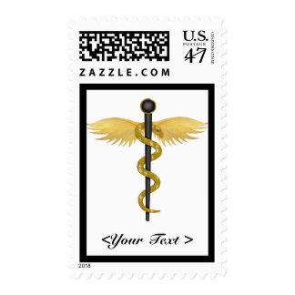 Black and Gold Winged Staff Postage Stamp