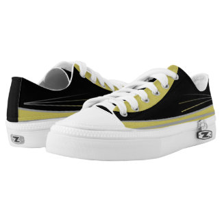 Black and Gold with Silver Trim Tres Lo-Tops Printed Shoes
