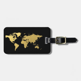 Black and gold World map elegant Luggage Tag