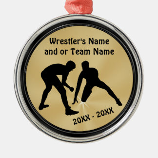 Black and Gold Wrestling Ornaments PERSONALIZED